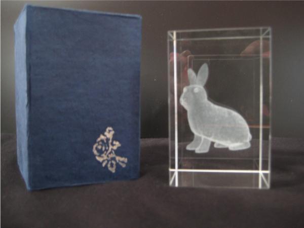 3D Hase im Glasblock